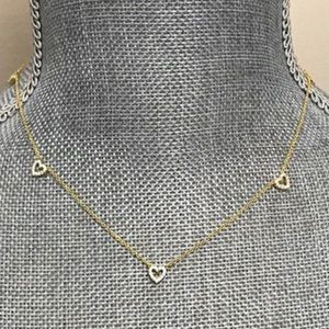 Cubic Zirconia Heart 14K Gold Vermeil Necklace,NWT